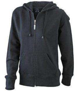 Ladies Hooded Jacket James & Nicholson - black