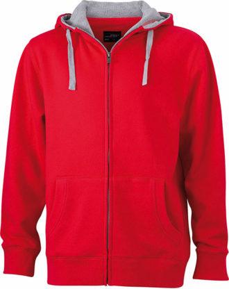 Mens Lifestyle Zip Hoody - red/grey heather