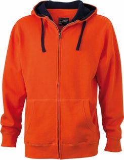 Mens Lifestyle Zip Hoody - dark-orange/navy