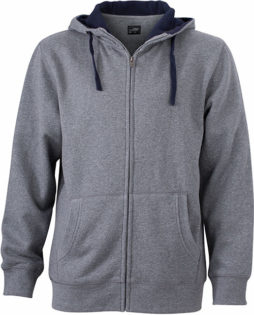 Mens Lifestyle Zip Hoody - grey-melange/navy