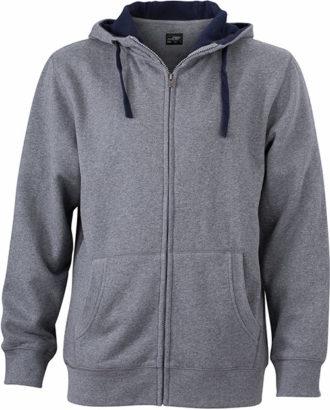 Mens Lifestyle Zip Hoody - grey-melange/navy