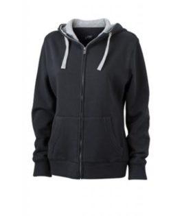 Ladies Lifestyle Zip-Hoody - black/greyheather