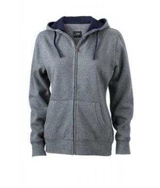 Ladies Lifestyle Zip-Hoody Ladies Lifestyle Zip-Hoody - grey-melange/navy
