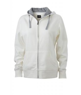 Ladies Lifestyle Zip-Hoody - off-white/grey-heather