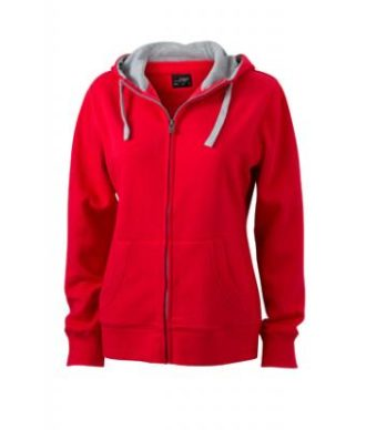 Ladies Lifestyle Zip-Hoody - red/grey heather