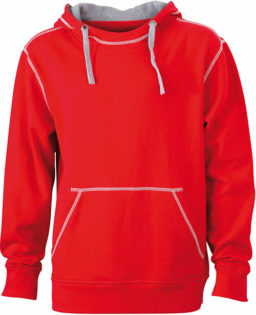Mens Lifestyle Hoody - red/grey heather
