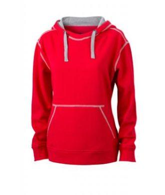 Ladies Lifestyle Hoody - red/grey heather