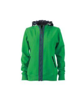 Ladies Hooded Jacket - fern green/navy