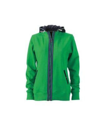 Ladies Hooded Jacket - fern green/navy