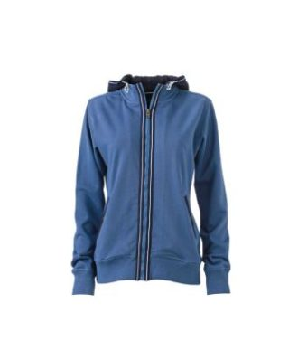 Ladies Hooded Jacket - denim/navy