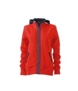 Ladies Hooded Jacket - tomato/navy