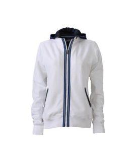 Ladies Hooded Jacket - white/navy