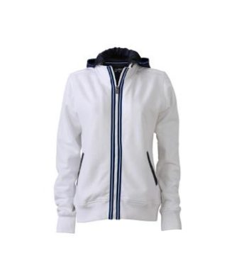 Ladies Hooded Jacket - white/navy