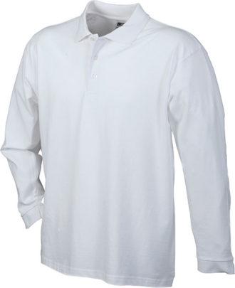 Werbeartikel Poloshirt Langarm Heavy - white