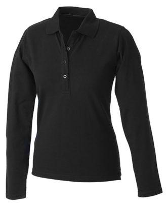 Damen Werbeartikel Poloshirt Langarm Elastic - black
