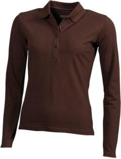Damen Werbeartikel Poloshirt Langarm Elastic - brown