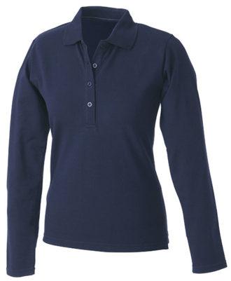 Damen Werbeartikel Poloshirt Langarm Elastic - navy