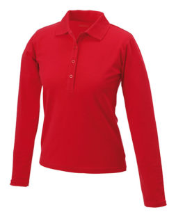Damen Werbeartikel Poloshirt Langarm Elastic - red