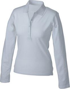 Damen Werbeartikel Poloshirt Langarm Elastic - white