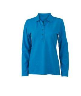 Damen Werbeartikel Poloshirt Langarm Elastic - turquoise