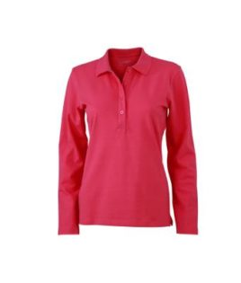 Damen Werbeartikel Poloshirt Langarm Elastic - pink