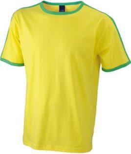 Mens Flag T James & Nicholson - yellow/frog