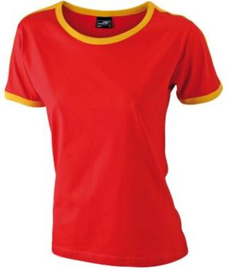 Ladies Flag T James & Nicholson - red/gold yellow