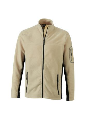 Mens Workwear Fleece Jacket James & Nicholson - stone/black