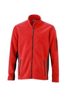Mens Workwear Fleece Jacket James & Nicholson - red/black