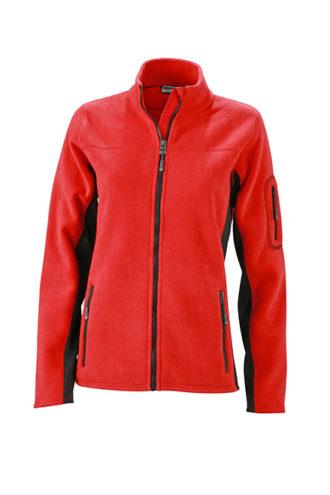 Ladies Workwear Fleece Jacket James & Nicholson - red/black