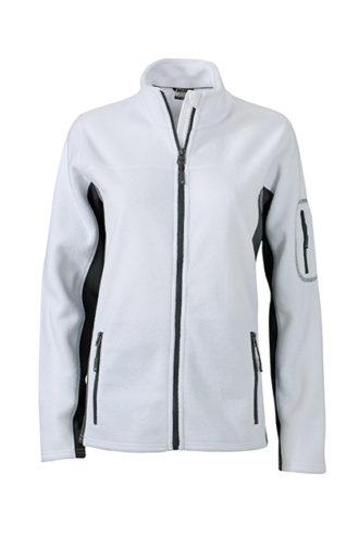 Ladies Workwear Fleece Jacket James & Nicholson - white/carbon