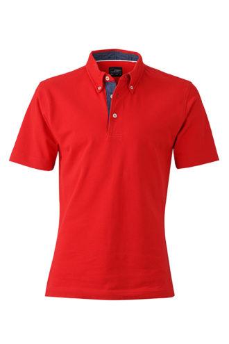 Mens Plain Polo James & Nicholson - red/dark denim