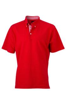 Mens Plain Polo James & Nicholson - red/red white