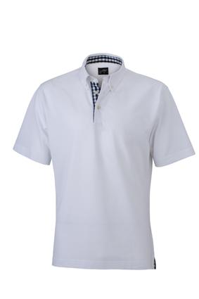 Mens Plain Polo James & Nicholson - white/navy/white