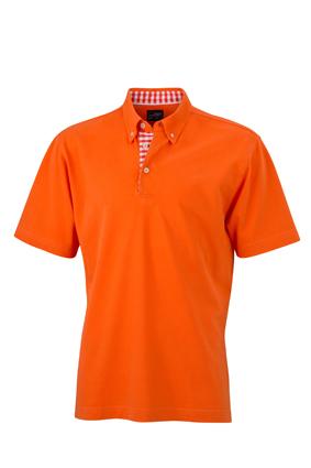 Mens Plain Polo James & Nicholson - dark orangedark orange/white