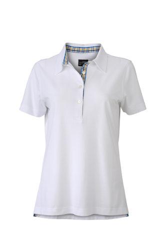Ladies Plain Polo James & Nicholson - white/blue yellow white