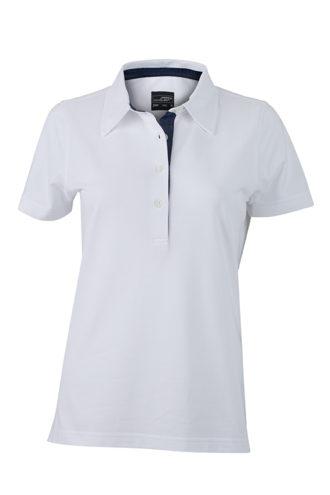 Ladies Plain Polo James & Nicholson - white/dark denim