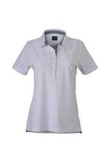 Ladies Plain Polo James & Nicholson - white/navy/white