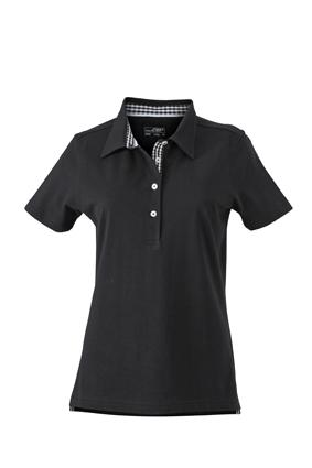 Ladies Plain Polo James & Nicholson - black/black white
