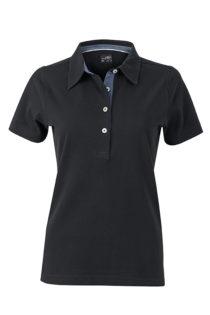 Ladies Plain Polo James & Nicholson - black/light denim