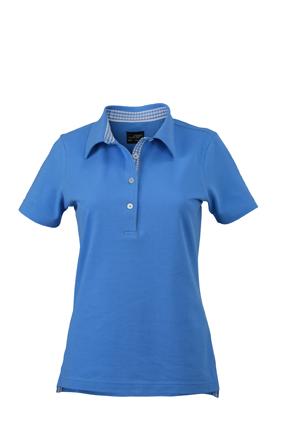 Ladies Plain Polo James & Nicholson - glacier blue/glacier blue white