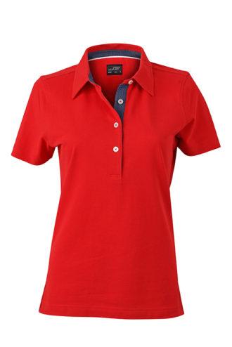 Ladies Plain Polo James & Nicholson - red/dark denim