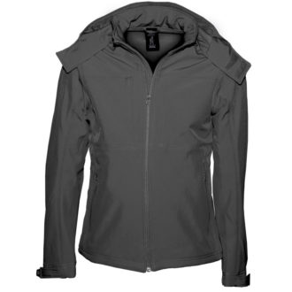 Hooded Softshell Men B&C - dark grey