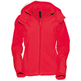 Ladies Hooded Softshell B&C - rot