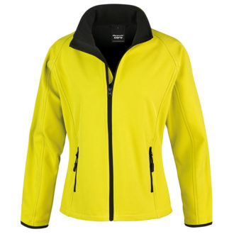 Bedruckbare Damen Soft Shell Jacke Result - yellow/black