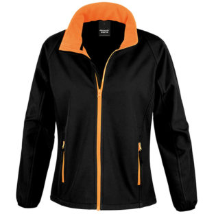 Bedruckbare Damen Soft Shell Jacke Result - black/orange