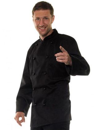 Kochjacke Baumwolle Karlowsky - schwarz am Mann