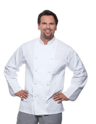 Kochjacke Basic 100% Baumwolle Karlowsky - weiß am Mann