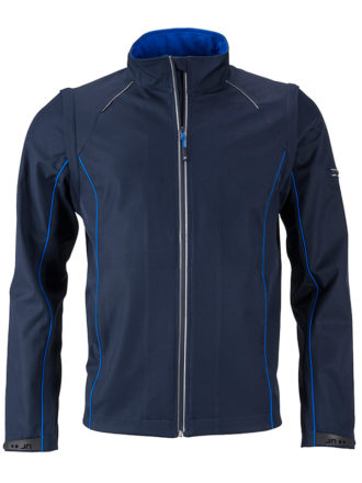 Men's Zip Off Softshell Jacket James & Nicholson - navy royal