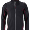 Men's Zip Off Softshell Jacket James & Nicholson - black red